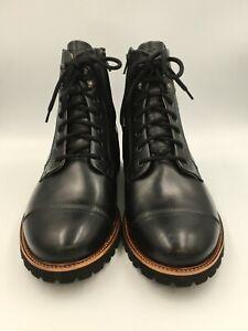 Samuel Hubbard Mens 10.5W Uptown Maverick Cap-Toe LaceUp Boot Black Leather 1957