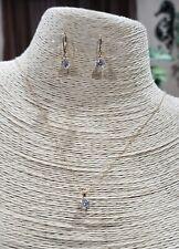 14K YELLOW GOLD DIAMONIQUE DANGLE CUBIC ZIRCONIA SOLITAIRE EARRINGS & NECKLACE