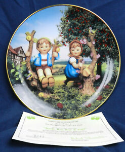 Apple Tree Boy and Girl M.I. Hummel Little Companions Plate Collection with Cert