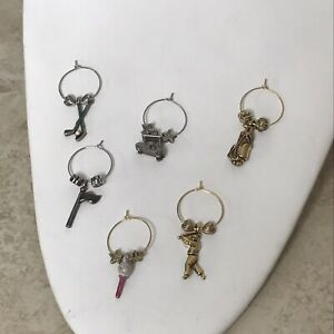 Wine Glass Drink Markers Set of 6: 3 Silver & 3 Gold Golf Theme Cocktail Charms