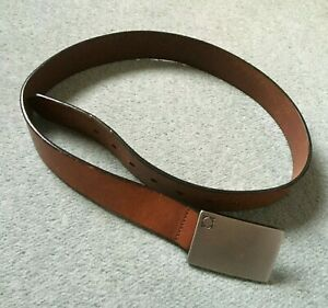 Kenneth Cole handmade genuine leather belt brown solid square push fit buckle