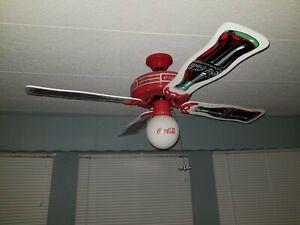 Coca Cola Ceiling Fan 1997 Original White Light Globe & 4 Blades Model # CD-5201