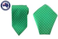 Men's Green White Polka Dot 8.5CM Necktie & Pocket Square Wedding Tie Neck Tie