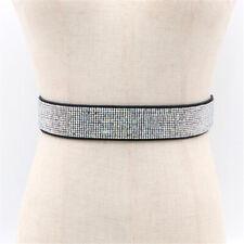 Women Shiny Rhinestone Waist Belt Crystal Diamond Waistband Stretch Waist Strap