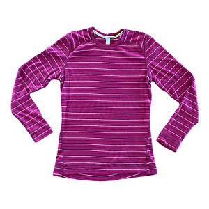 Smartwool Purple Striped Merino Wool Midweight Baselayer Crew Shirt Size XL