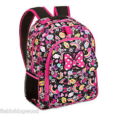 """NWT Disney Store Minnie Mouse and Figaro Backpack with Hood 16"""" School Girls"""