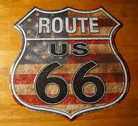 RUSTIC AMERICAN FLAG ROUTE 66 TIN SIGN Retro Highway Home Gas Station Decor NEW