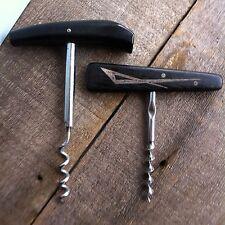 Corkscrews -2 Vintage- Wood Handle w/ Silver Geometric Design~Black Resin Handle