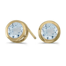 14k Yellow Gold Round Aquamarine Bezel Stud Earrings