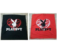 VTG PLAYBOY LARGE PILLOWCASE  Man Cave Awesome Logo Spell-Out RED/BLACK 32 X 31