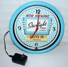 "STARLIGHT DRIVE IN NEON  COLLECTIBLE WALL CLOCK 11"" LIGHT UP TIME"