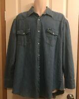 Western Pearl Snap Wrangler Mens Extra Large Tall Denim Shirt Long Sleeve XLT