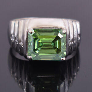 5.25 Ct Greenish Blue Emerald Cut Blue Diamond Solitaire Ring, Excellent Luster