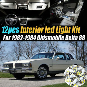 12Pc Super White Car Interior LED Light Kit for 1982-1984 Oldsmobile Delta 88