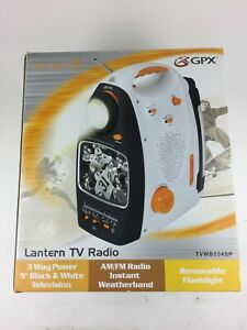 "GPX 5"" Black & White TV AM FM Weatherband Radio Flashlight Lantern Camping"