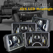 "4x6"" Rectangular Black Projector Headlights Peterbilt Kenworth Freightliner US"