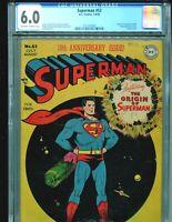 Superman 53 CGC 6.0 10th Anniversary Origin issue Classic Cover!! 1948 RARE!!!!