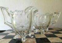 Vintage Indiana Glass Footed Glass Sugar Bowl and Creamer Cut Flower Design