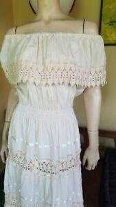 White Mexican Vintage 60's Fiesta Wedding Off Shoulder Macrame Patio Dress L/XL