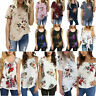 Summer Womens Ladies Casual Tops Blouse Short Sleeve Crew Neck Floral T-Shirt US