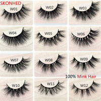 SKONHED 3D Mink Hair False Eyelashes Wispy Cross Lashes Fluffy Lashes Extension-