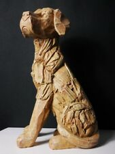 Wood Effect Sitting Dog Ornament Rustic Home Decor Figure Labrador Guard Dog