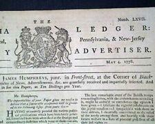 Rare Revolutionary War Tory Title 1776 Philadelphia Pa Pennsylvania Newspaper