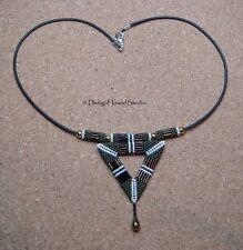 Peyote Beaded Pendant on Cord Necklace