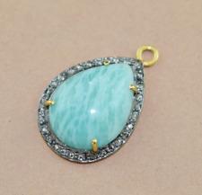 925 Silver Sterling Diamond Amazonite Genuine Gemstone Pendant Necklace Jewelry