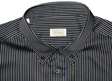 MINT PREOWNED BRIONI NAVY BROWN & WHITE STRIPE DRESS SHIRT VI XXL 44 17.5