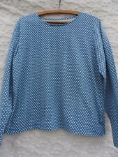 Talbot's Knit Top Misses L Blue White Cotton Rich Stretchy MINT