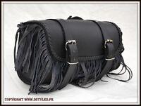 Rool Bag sac de fourche en Cuir REC. Frange ( harley shadow virago intruder VN )