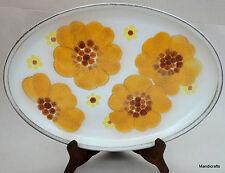 Denby UK Stoneware Minstrel Serving Platter 13in Oval Plate Orange Flower 1970s