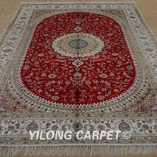 YILONG 6'x9' Handmade Silk Rug Medallion Red Home Decor Carpet 1204