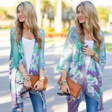 2017 Long Womens Boho Bohemian Floral Chiffon Kimono Top Blouse Cardigan Shawl A