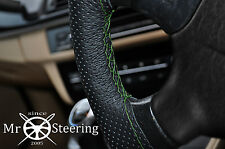 FITS 98+ PEUGEOT 206 PERFORATED LEATHER STEERING WHEEL COVER GREEN DOUBLE STITCH