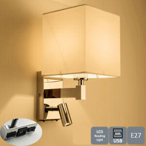 USB Wall Light, Includes Adjustable LED Reading Light and Switch Polished Chrome
