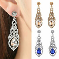 925 Sterling Silver Plated Crystal Rhinestone Drop Dangle Wedding Earrings Gift