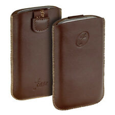 T- Case Leder Etui braun f Alcatel One Touch 918D OT Tasche Hülle brown