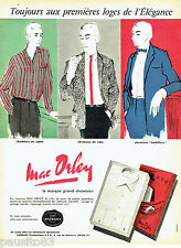 PUBLICITE ADVERTISING 106  1958  Les chemises homme Mac Orley