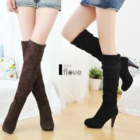 Sexy Ladies Womens Over Knee Faux Suede Stretch Thigh High Heel Boots Snow ILOE