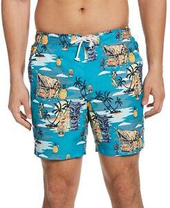 Original Penguin Men's Tiki Tropical Print Swim Trunks
