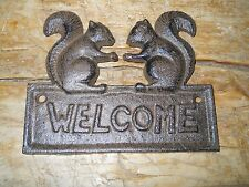 Cast Iron SQUIRREL WELCOME Plaque Sign Rustic Ranch Wall Decor