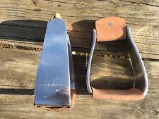 Angled aluminum roper style Western stirrups w/leather treads NWOT