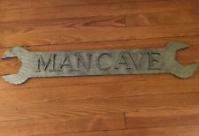 """Large Metal MAN CAVE Tin Sign- Open Ended Wrench- 44"""" Long X 9"""" Wide!"""