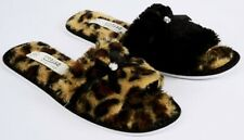 Womens Ladies COSY LEOPARD Slip on Flat Open Toe Mules HOUSE SLIPPERS SIZE345678