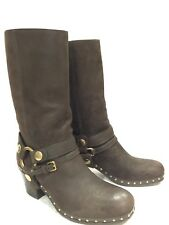 Auth. MIU MIU Studded Ebano Brown Leather 3/4 Ankle Strap Moto Boots, Size 37