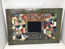 "Fabulous Handcrafted Mosaic Tiled Mirror 18"" x 27"" Artist Signed Bill Silver"