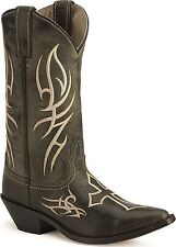 Justin Womens BRL9754 Bent Rail Distressed Coal Black Western Cowgirl Boots 6.5B