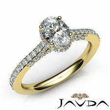 Pave Set Oval Shape Diamond Engagement Ring GIA E VVS2 18k Yellow Gold 1.36Ct